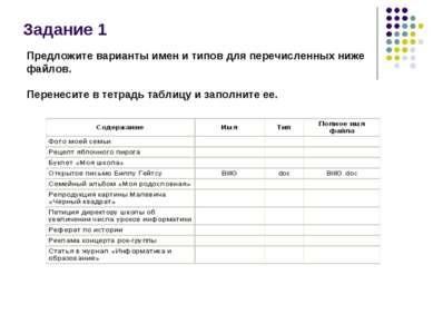 Задание 1 Предложите варианты имен и типов для перечисленных ниже файлов. Пер...