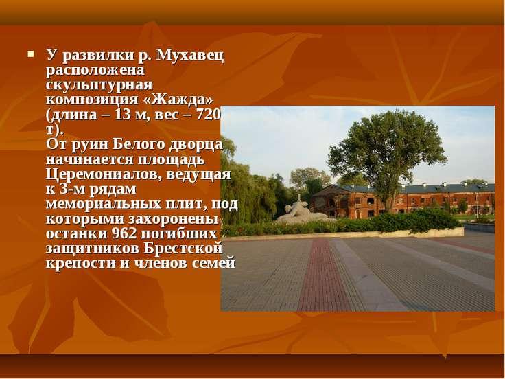 У развилки р. Мухавец расположена скульптурная композиция «Жажда» (длина – 13...