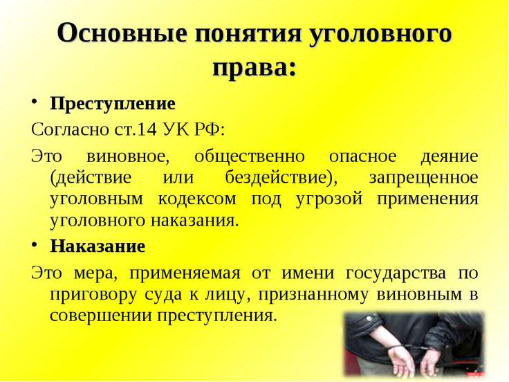 Основные понятия уголовного права: Преступление Согласно ст.14 УК РФ: Это вин...