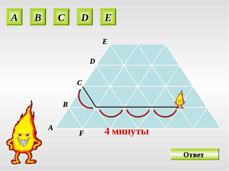 A B C D E O 4 минуты А В С D E F Ответ