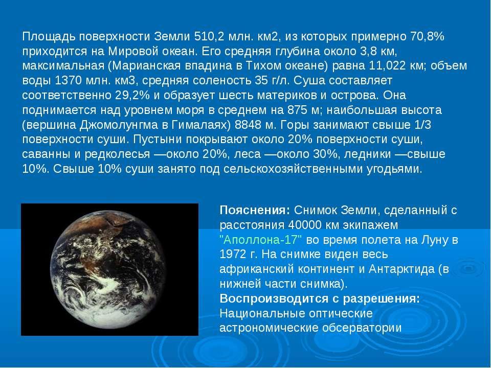 Площадь поверхности Земли 510,2 млн. км2, из которых примерно 70,8% приходитс...