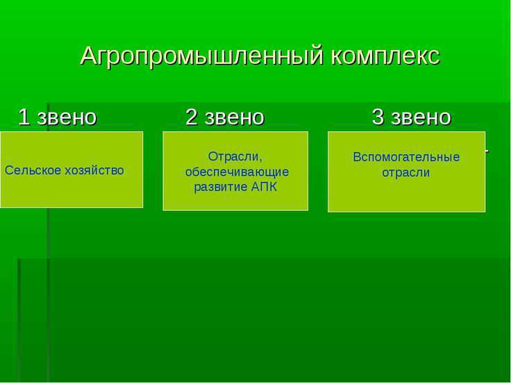 Агропромышленный комплекс 1 звено 2 звено 3 звено Сельское Промышлен- Вспомог...