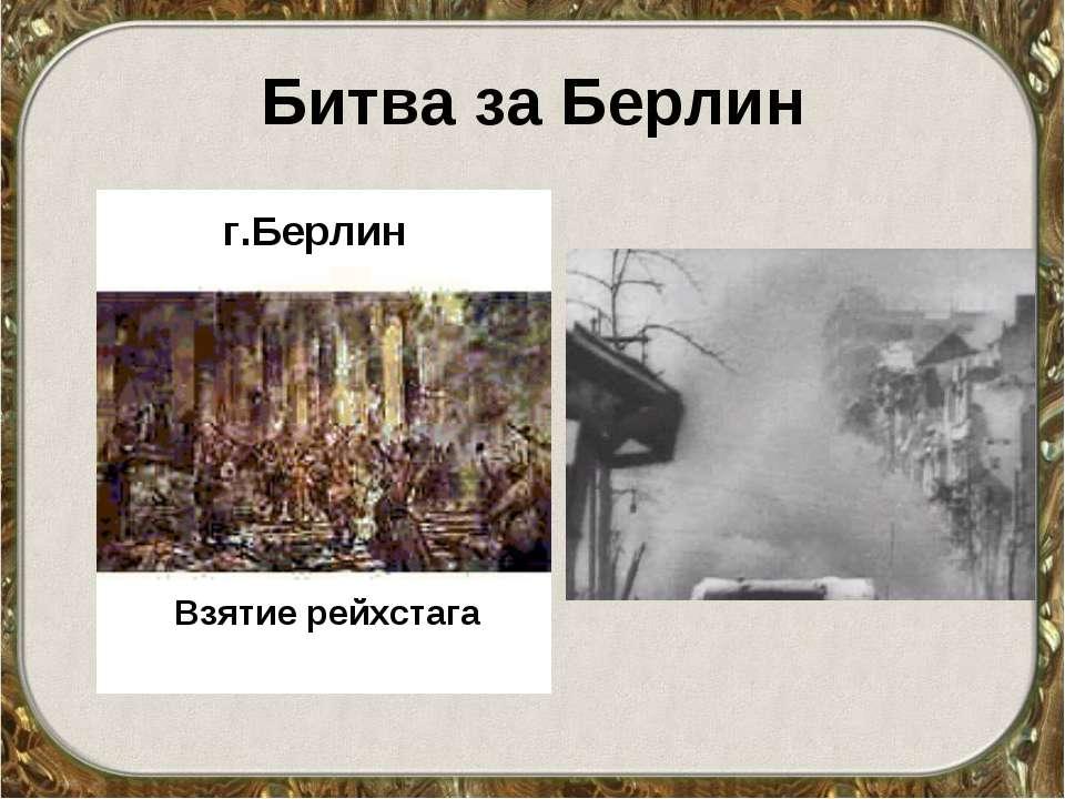 Битва за Берлин Взятие рейхстага г.Берлин