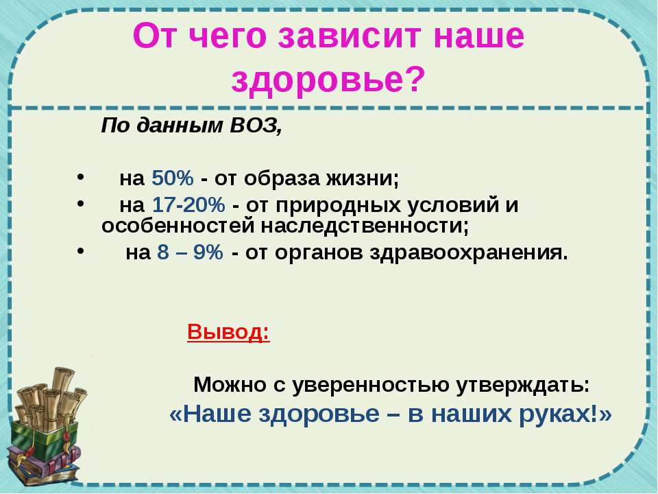 От чего зависит наше здоровье? По данным ВОЗ, на 50% - от образа жизни; на 17...