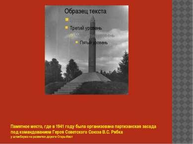 Памятное место, где в 1941 году была организована партизанская засада под ком...