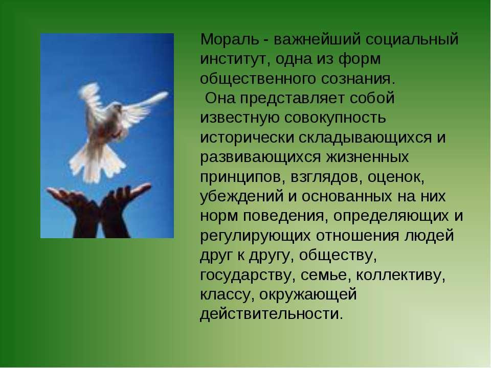 Мораль - важнейший социальный институт, одна из форм общественного сознания. ...