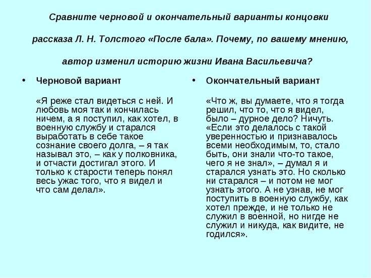 Сравните черновой и окончательный варианты концовки рассказа Л. Н. Толстого «...