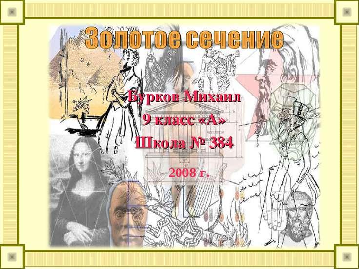 Бурков Михаил 9 класс «А» Школа № 384 2008 г.