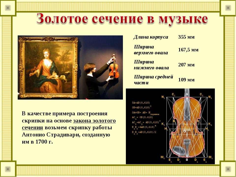 В качестве примера построения скрипки на основе закона золотого сечения возьм...