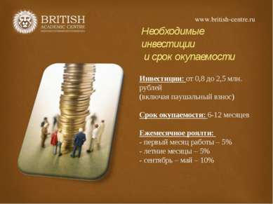 Необходимые инвестиции и срок окупаемости Инвестиции: от 0,8 до 2,5 млн. рубл...