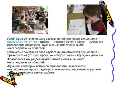 Устойчивые сочетания слов изучает лингвистическая дисциплина - фразеоло гия (...