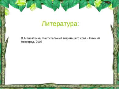 Литература: В.А.Касаткина. Растительный мир нашего края.- Нижний Новгород, 2007