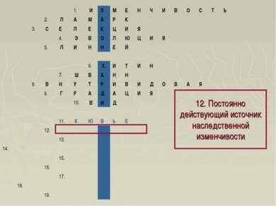 12. Постоянно действующий источник наследственной изменчивости 1. И З М Е...