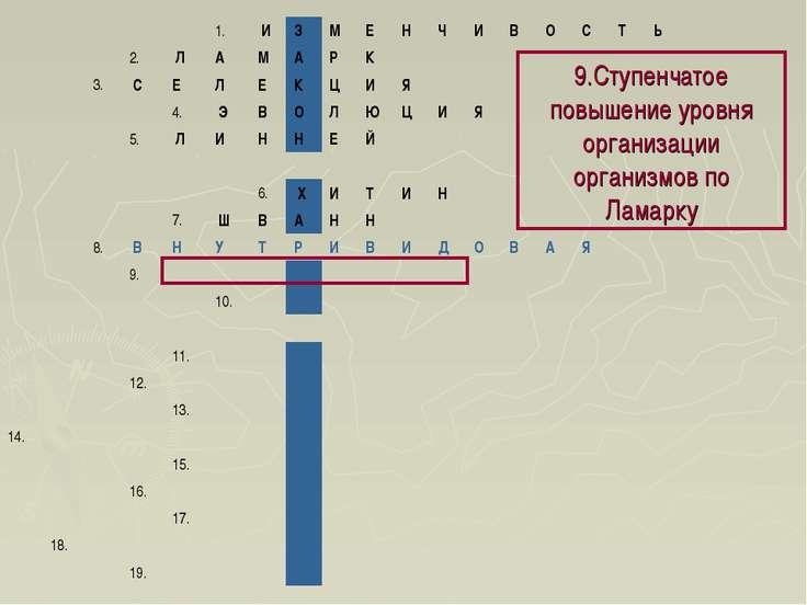 9.Ступенчатое повышение уровня организации организмов по Ламарку 1. И З М ...