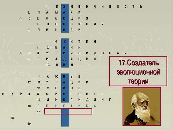 17.Создатель эволюционной теории 1. И З М Е Н Ч И В О С Т Ь 2. Л...