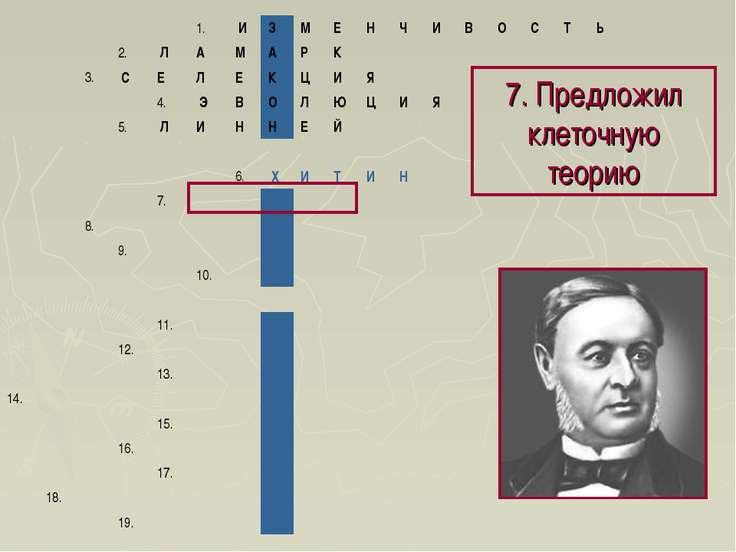 7. Предложил клеточную теорию 1. И З М Е Н Ч И В О С Т Ь 2. Л А...