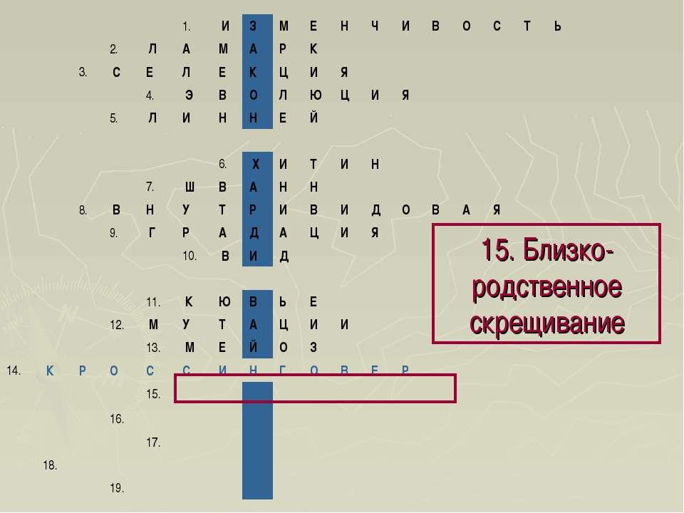 15. Близко-родственное скрещивание 1. И З М Е Н Ч И В О С Т Ь 2. ...