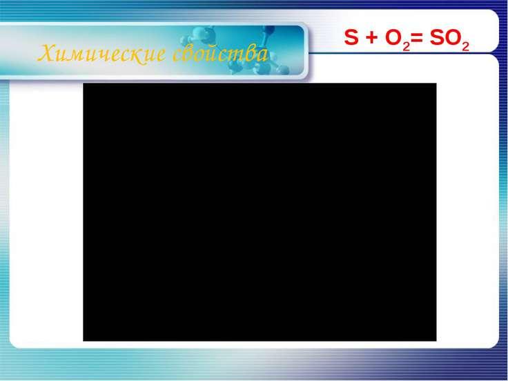 Химические свойства S + O2= SO2