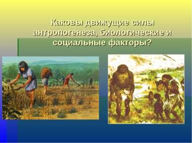 Каковы движущие силы антропогенеза, биологические и социальные факторы?
