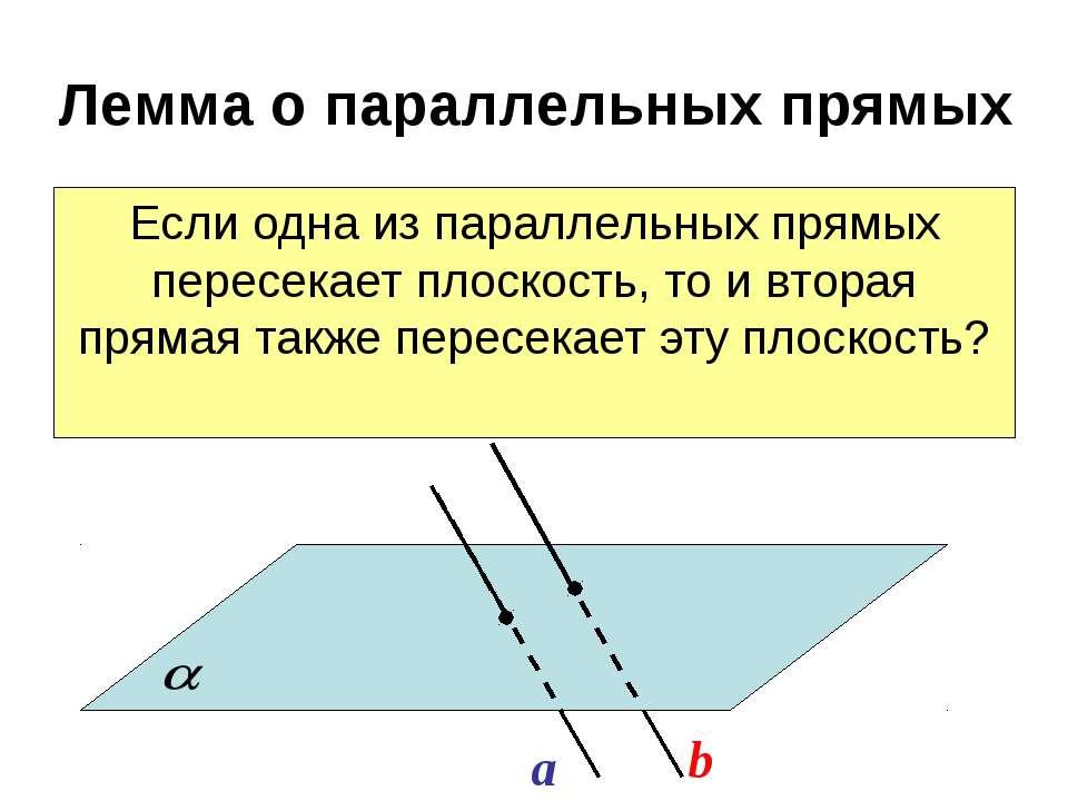 Лемма о параллельных прямых Если одна из параллельных прямых пересекает плоск...