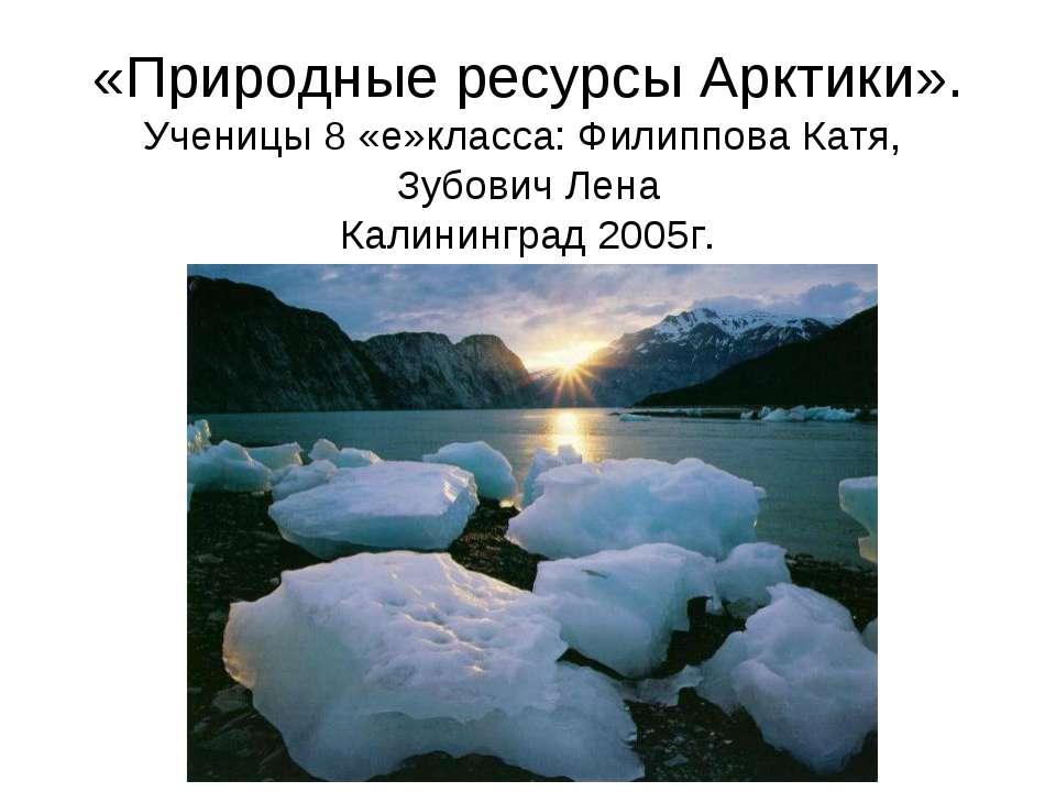 «Природные ресурсы Арктики». Ученицы 8 «е»класса: Филиппова Катя, Зубович Лен...