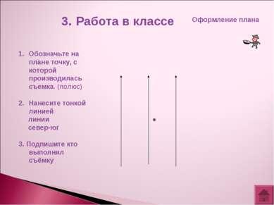 3. Работа в классе Оформление плана Обозначьте на плане точку, с которой прои...