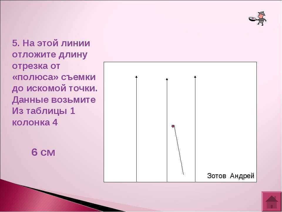 5. На этой линии отложите длину отрезка от «полюса» съемки до искомой точки. ...