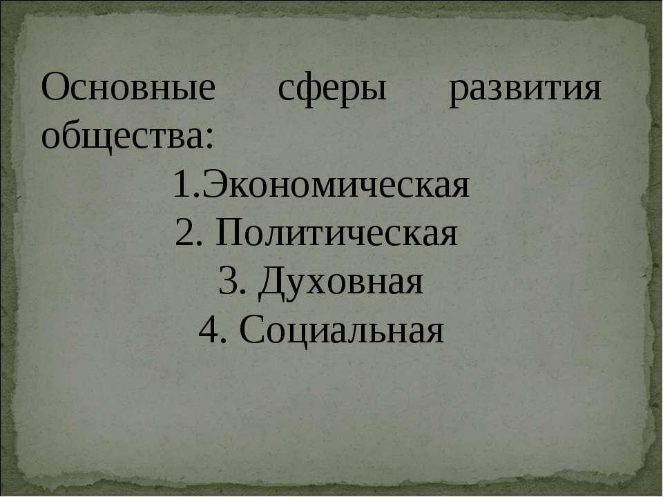 Основные сферы развития общества: 1.Экономическая 2. Политическая 3. Духовная...