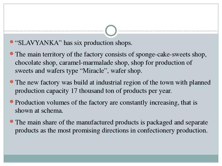 """""""SLAVYANKA"""" has six production shops. The main territory of the factory consi..."""