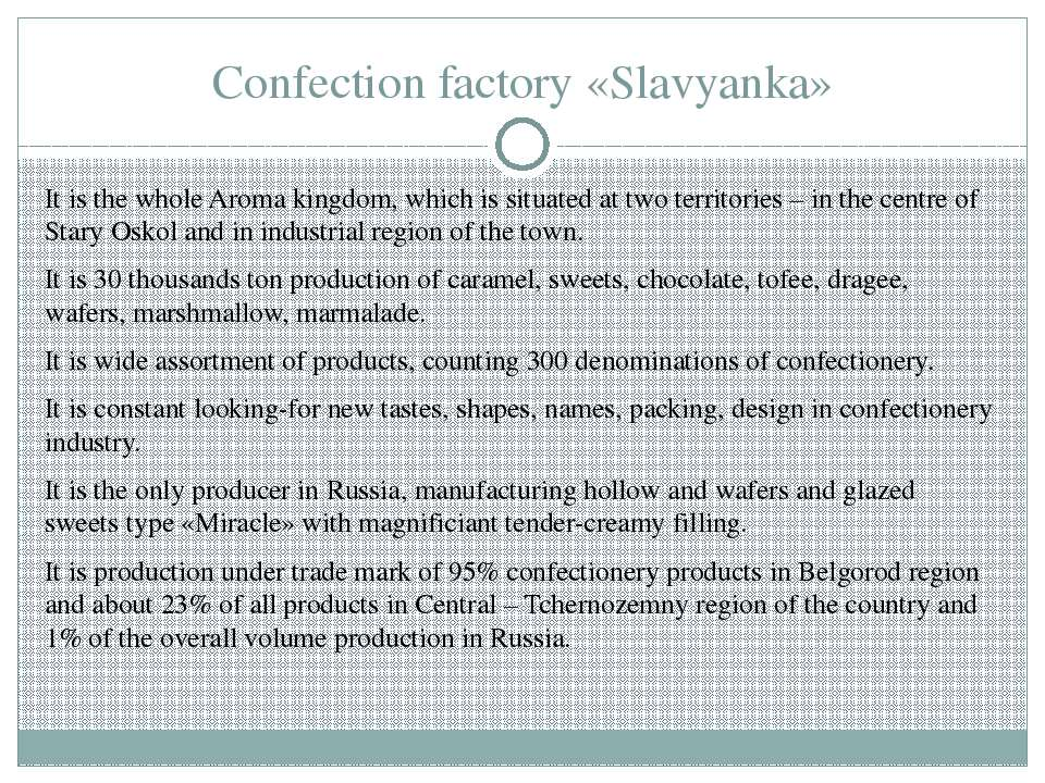 Confection factory «Slavyanka» It is the whole Aroma kingdom, which is situat...