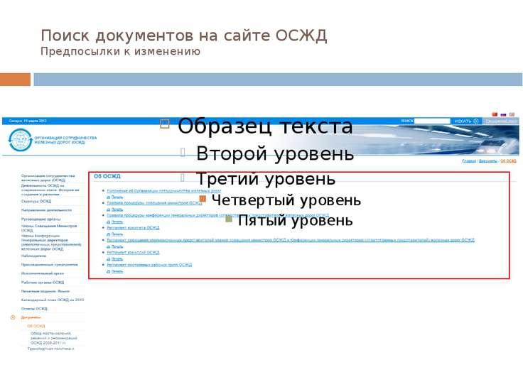 Поиск документов на сайте ОСЖД Предпосылки к изменению