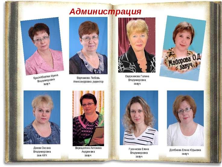 Администрация Красноборова Ирина Владимировна завуч Варламова Любовь Александ...