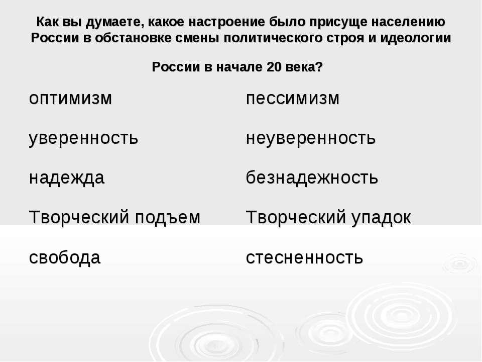 Как вы думаете, какое настроение было присуще населению России в обстановке с...