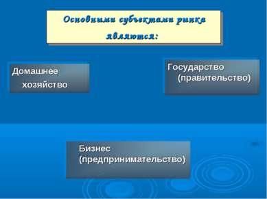 Основными субъектами рынка являются: Домашнее хозяйство Бизнес (предпринимате...