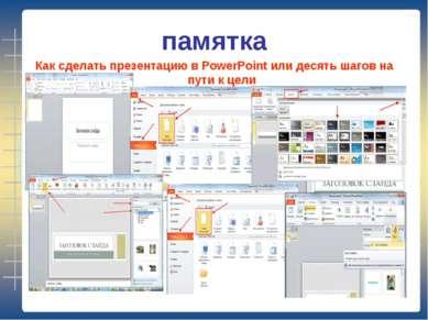 памятка Как сделать презентацию в PowerPoint или десять шагов на пути к цели