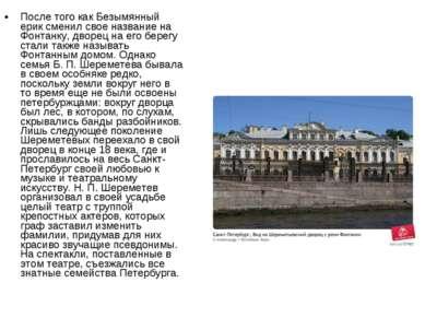 После того как Безымянный ерик сменил свое название на Фонтанку, дворец на ег...