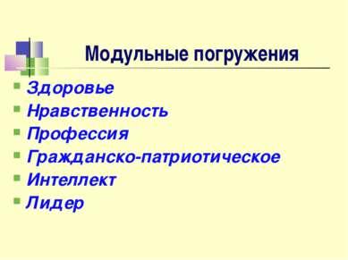 Модульные погружения Здоровье Нравственность Профессия Гражданско-патриотичес...