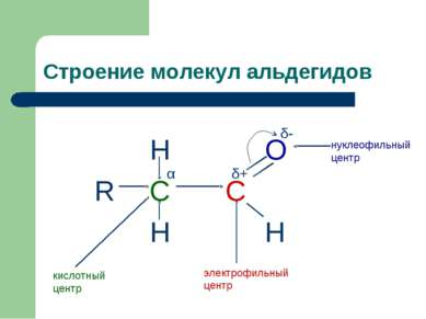 Строение молекул альдегидов H O R C C H H нуклеофильный центр кислотный центр