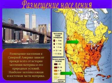 Размещение населения в Северной Америке зависит прежде всего от истории засел...