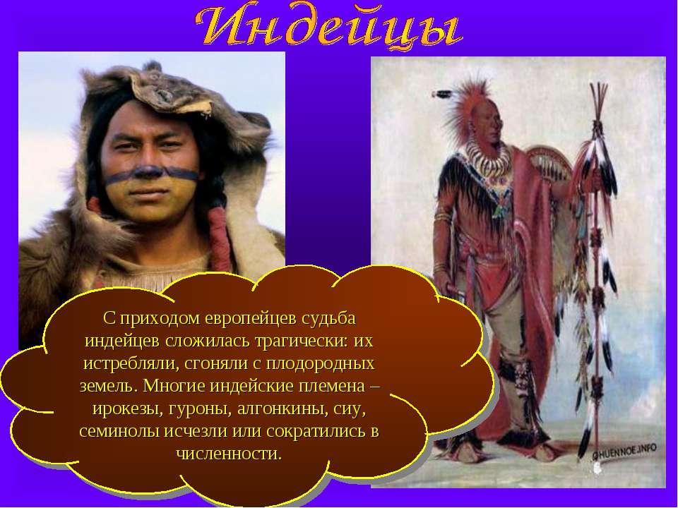 С приходом европейцев судьба индейцев сложилась трагически: их истребляли, сг...