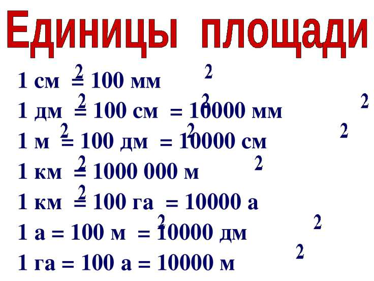 1 см = 100 мм 1 дм = 100 см = 10000 мм 1 м = 100 дм = 10000 см 1 км = 1000 00...