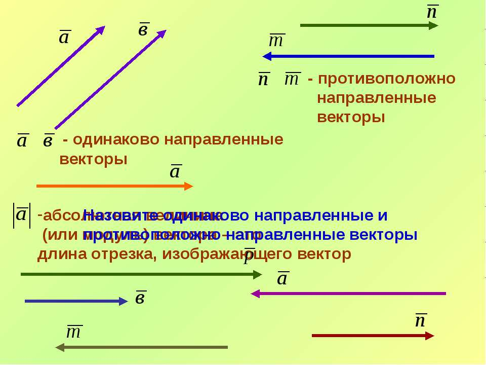 - одинаково направленные векторы - противоположно направленные векторы абсолю...