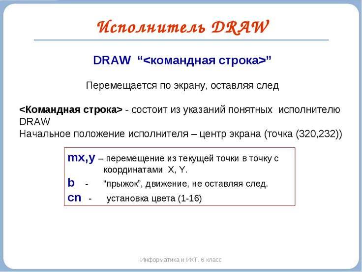 """Исполнитель DRAW Информатика и ИКТ. 6 класс DRAW """""""" Перемещается по экрану, о..."""
