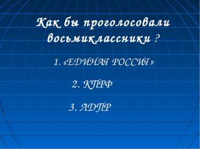 Как бы проголосовали восьмиклассники ? 1. «ЕДИНАЯ РОССИЯ» 2. КПРФ 3. ЛДПР