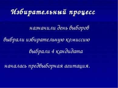 Избирательный процесс назначили день выборов выбрали избирательную комиссию в...