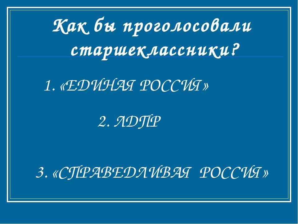 Как бы проголосовали старшеклассники? 1. «ЕДИНАЯ РОССИЯ» 2. ЛДПР 3. «СПРАВЕДЛ...