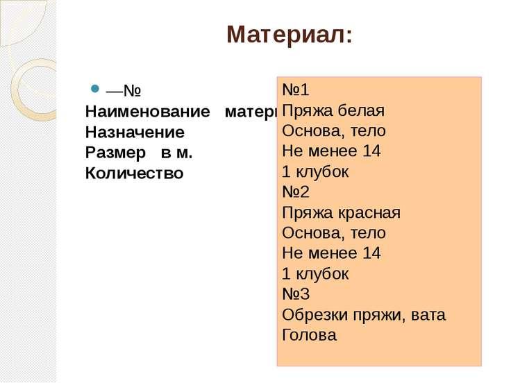 Материал: —№ Наименование материалов Назначение Размер в м. Количество №1 Пря...