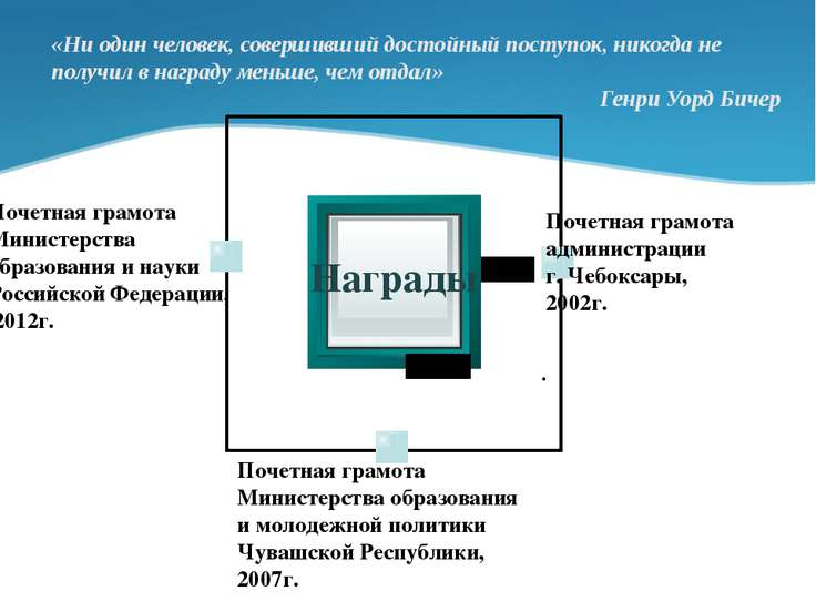 Награды Почетная грамота администрации г. Чебоксары, 2002г. . Почетная грамот...