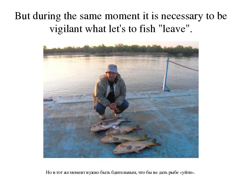 But during the same moment it is necessary to be vigilant what let's to fish ...