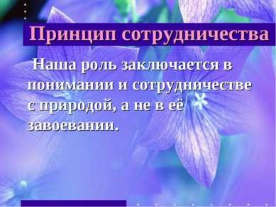 Принцип сотрудничества Наша роль заключается в понимании и сотрудничестве с п...